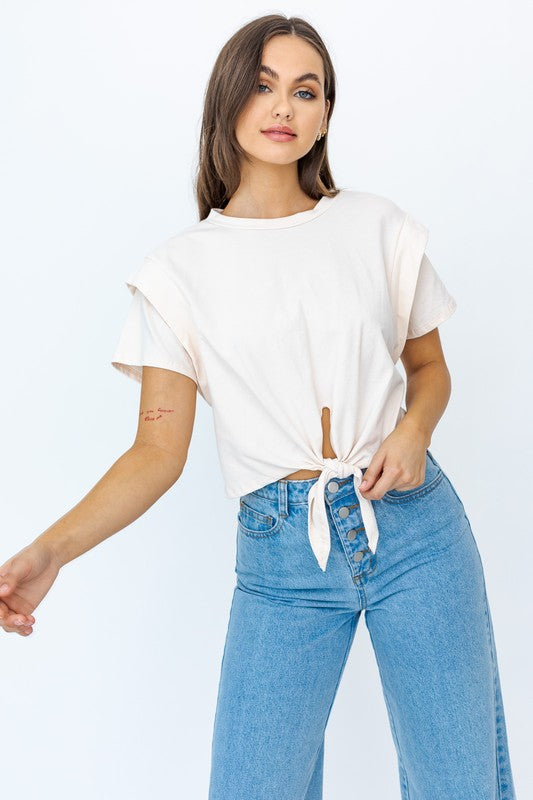 White Knotted Shoulder Pad Top