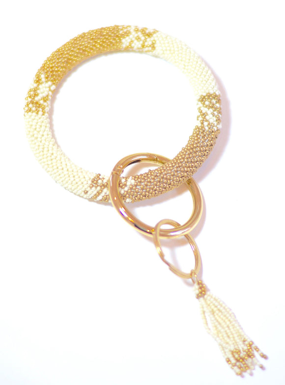White & Gold Beaded Wristlet Keychain