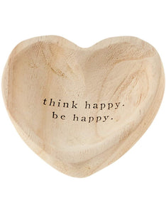 Wooden Heart Trinket Tray - Think Happy