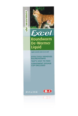 8 in 1 Excel Roundworm De-Wormer Liquid for Cats 4oz - BeeGreen