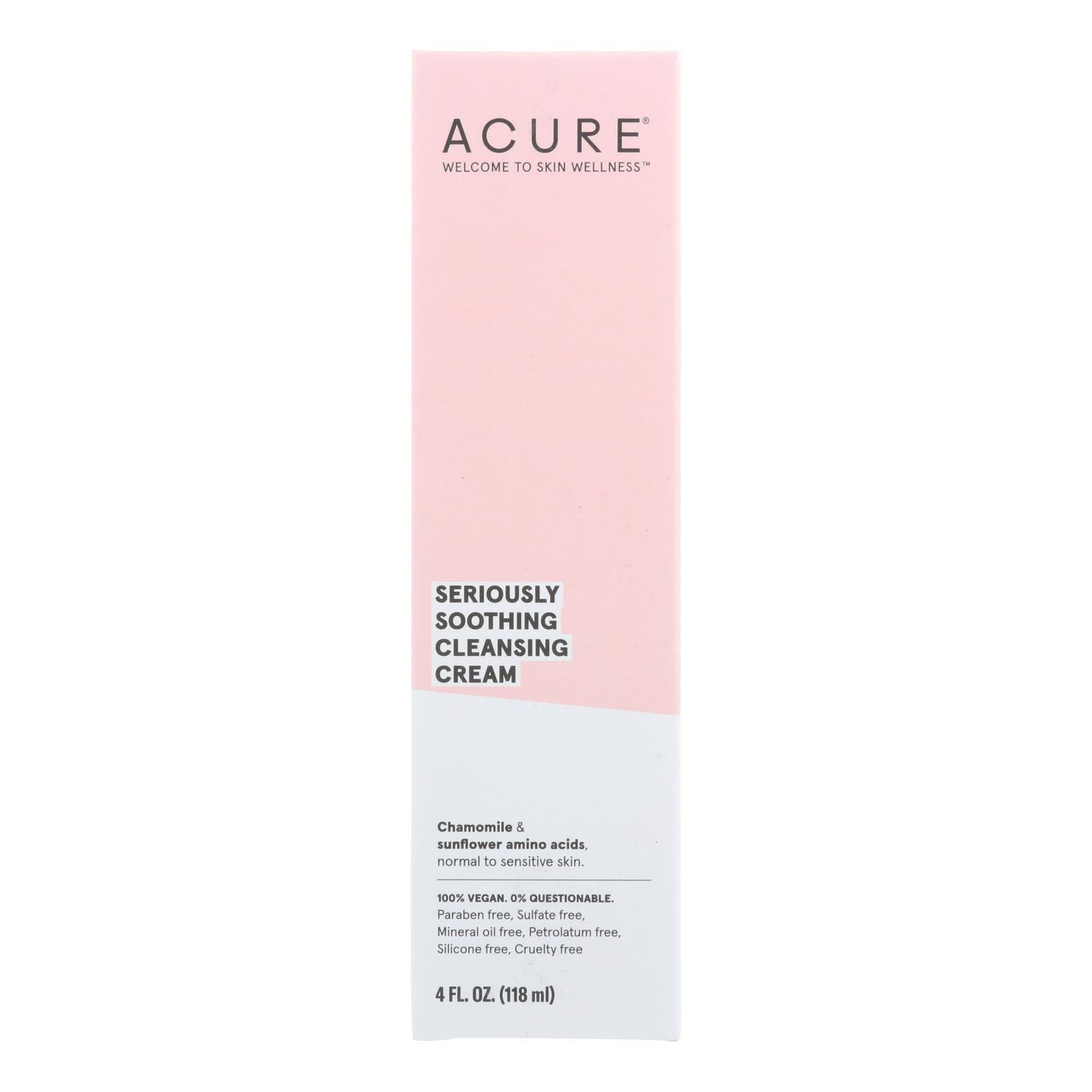 Acure - Sensitive Facial Cleanser - Peony Extract And Sunflower Amino Acids - 4 Fl Oz. - BeeGreen