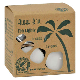 Aloha Bay - Palm Wax Tea Lights With Aluminum Holder - 12 Candles - BeeGreen