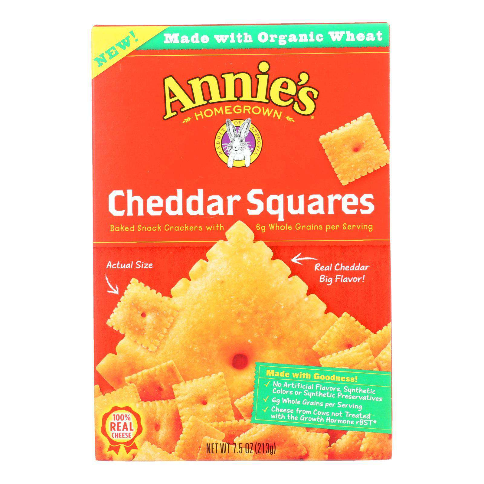 Annie's Homegrown - Cracker Chedder Sqrs - Case Of 12-7.5 Oz. - BeeGreen