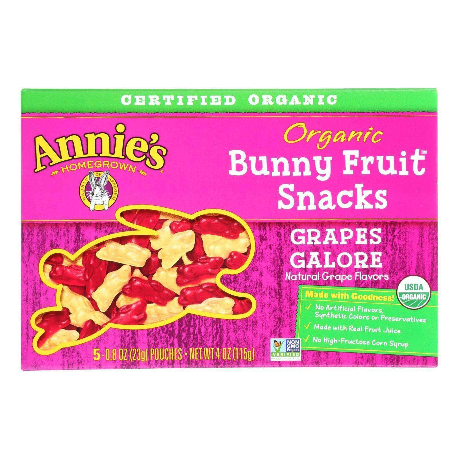 Annie's Homegrown Fruit Snack Grapes Galore - Case Of 10 - 4 Oz - BeeGreen