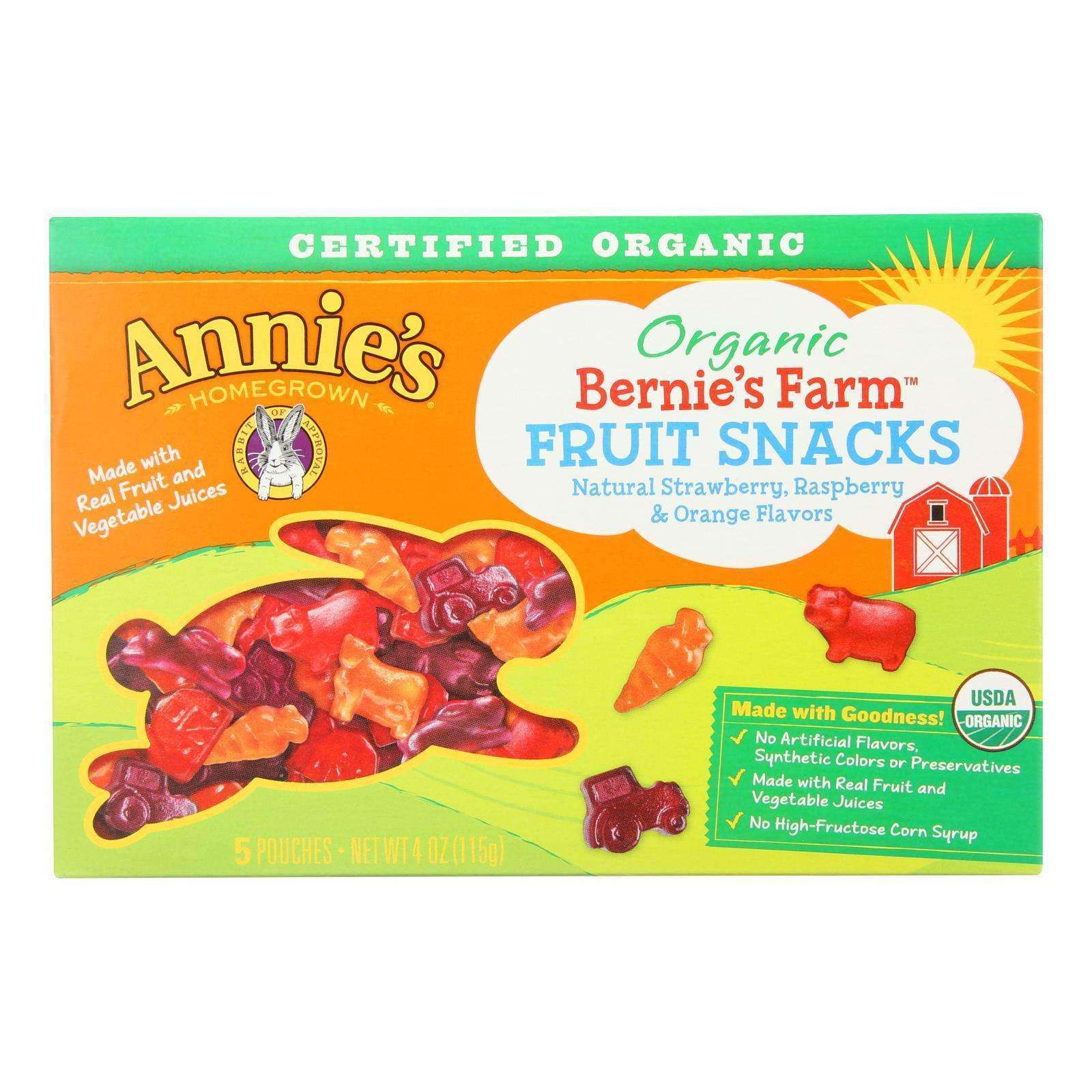 Annie's Homegrown Fruit Snack Multipack Bernie's Farm Fruit - Case Of 10 - 4 Oz - BeeGreen