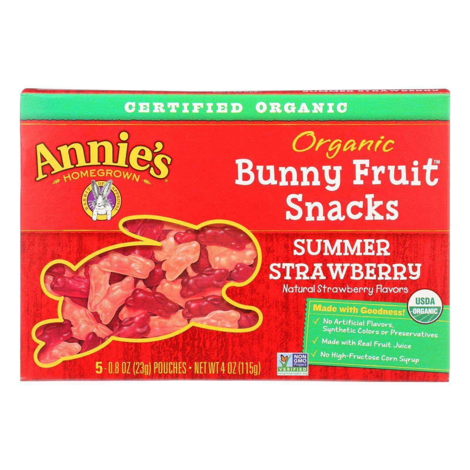 Annie's Homegrown Fruit Snack Summer Strawberry - Case Of 10 - 4 Oz - BeeGreen