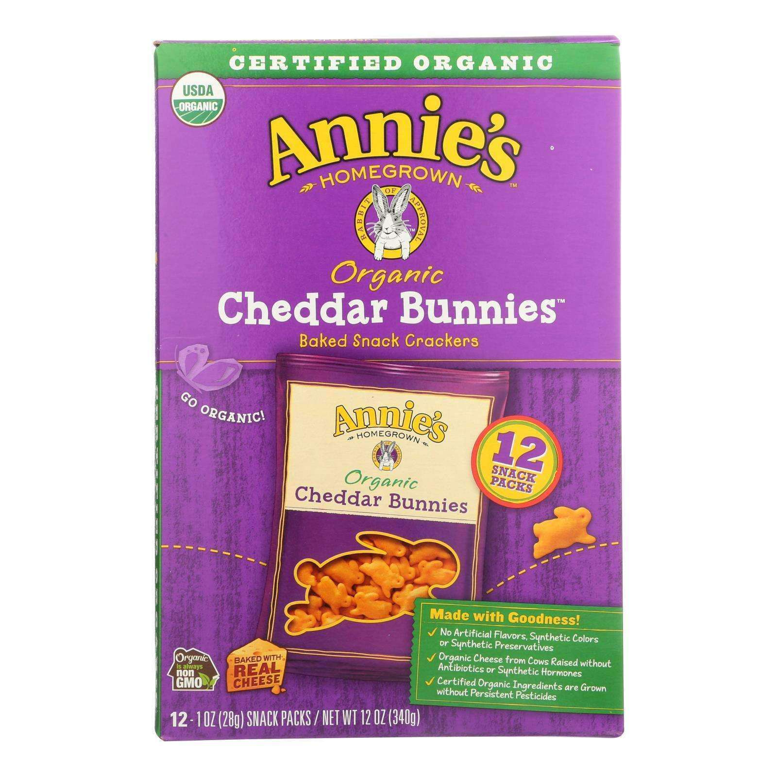 Annie's Homegrown Organic Bunny Cracker Snack Pack - Cheddar - Case Of 4 - 12-1 Oz - BeeGreen