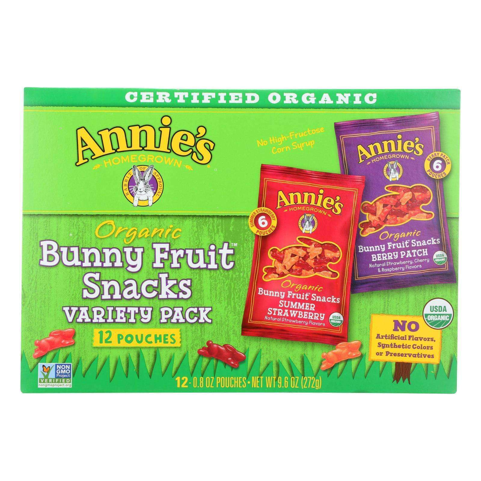 Annie's Homegrown Organic Bunny Fruit Snacks Variety Pack - Case Of 12 - 9.6 Oz. - BeeGreen