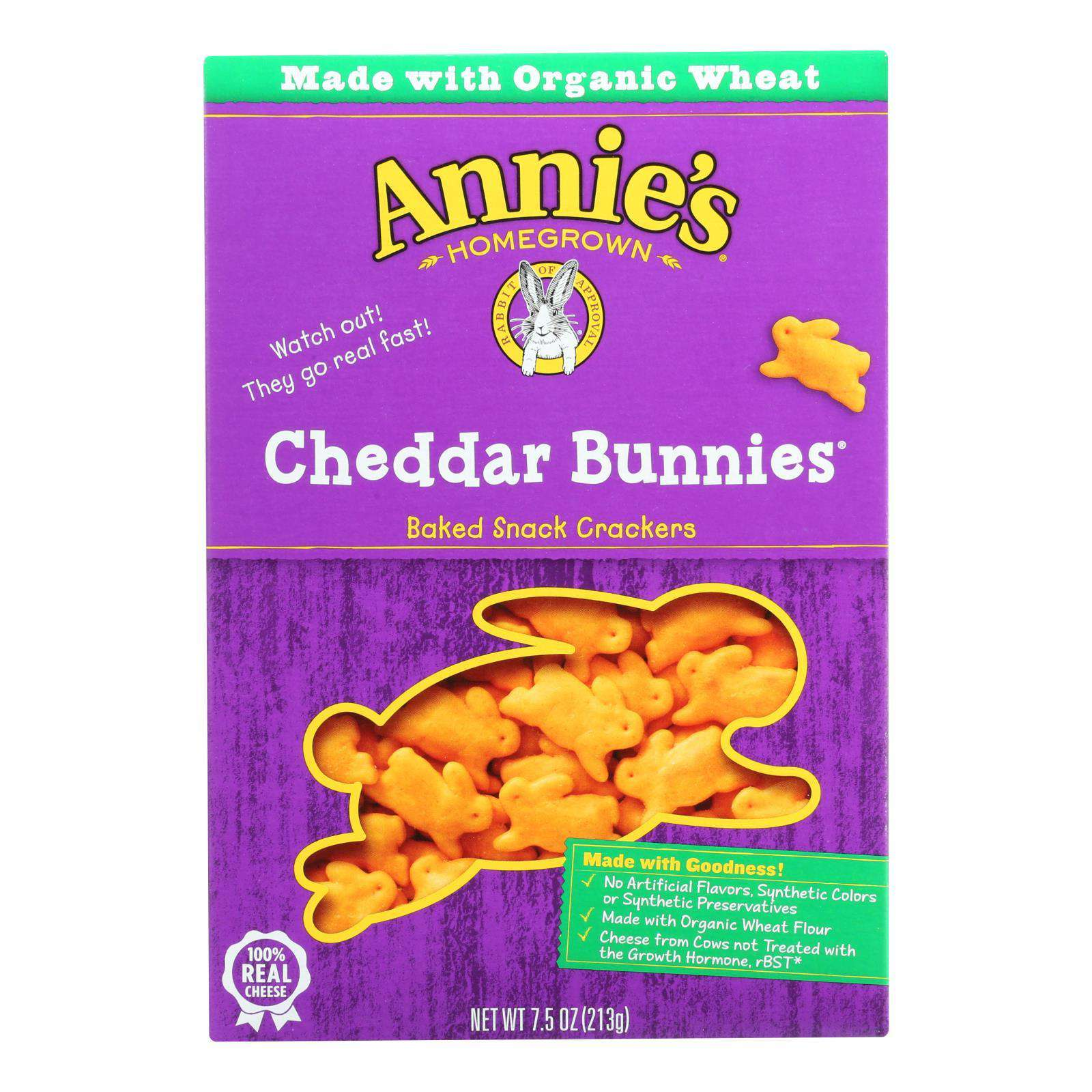 Annie's Homegrown - Snack Crackr Ched Bun - Case Of 12-7.5 Oz. - BeeGreen