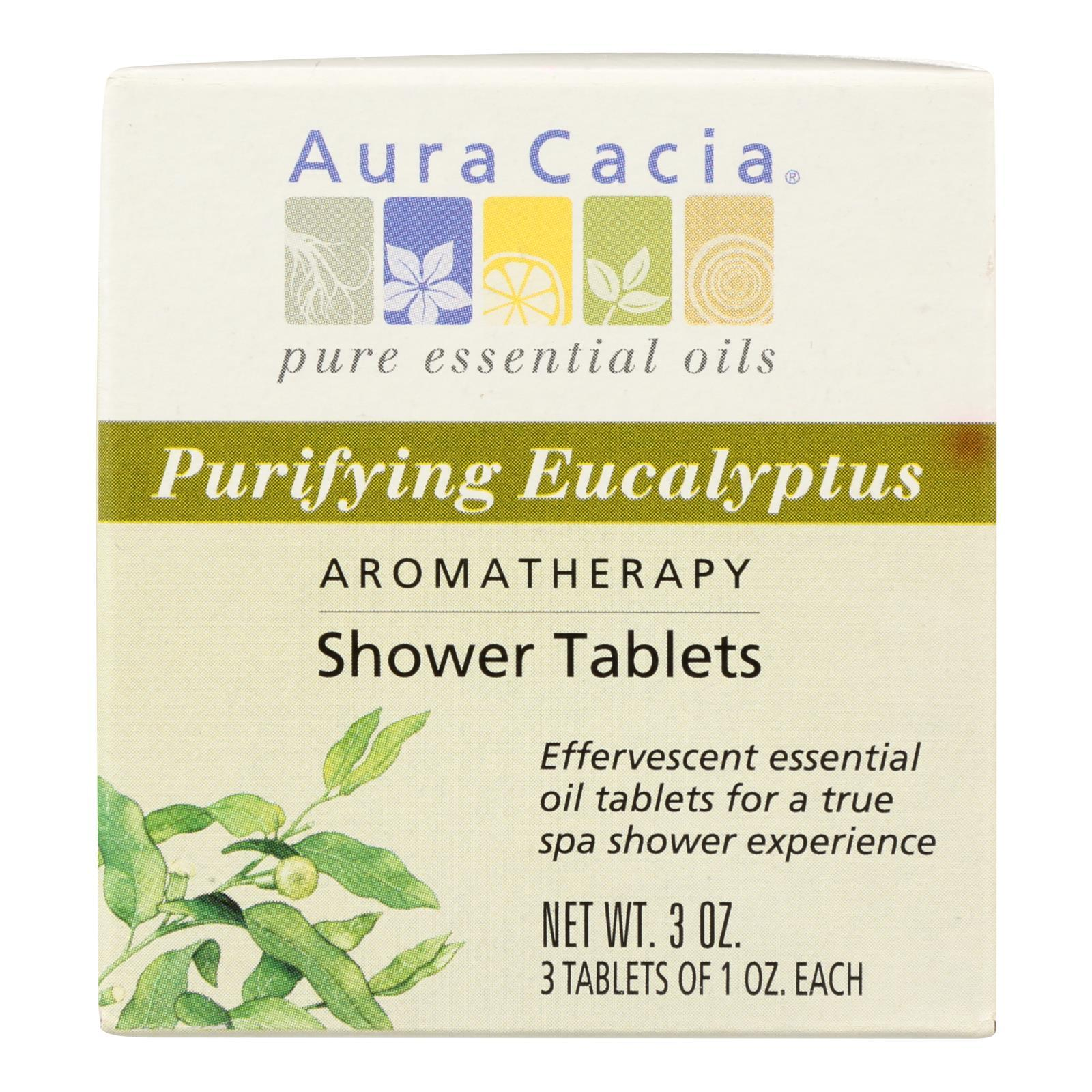 Aura Cacia - Purifying Aromatherapy Shower Tablets Eucalyptus - 3 Tablets - BeeGreen