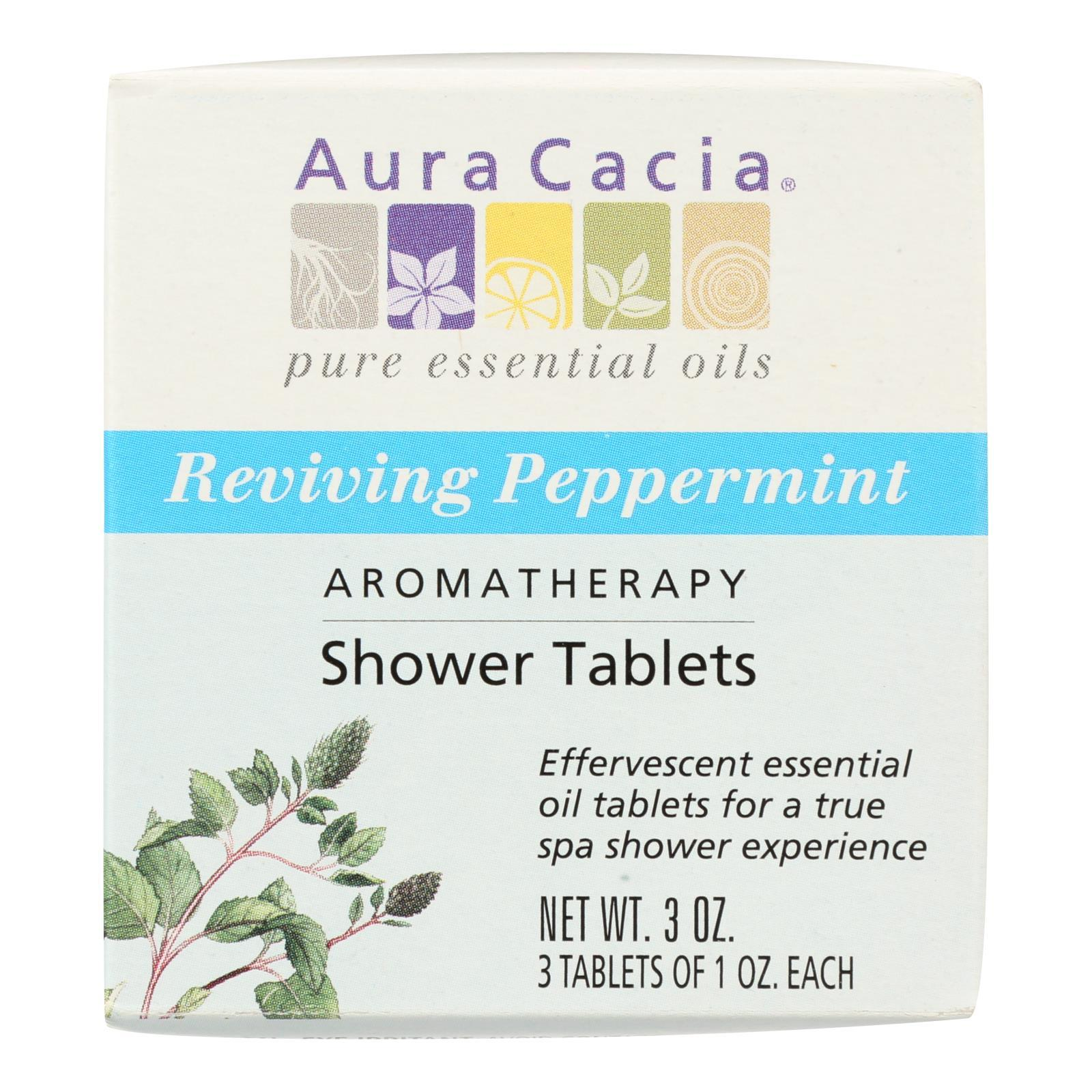 Aura Cacia - Reviving Aromatherapy Shower Tablets Peppermint - 3 Tablets - BeeGreen