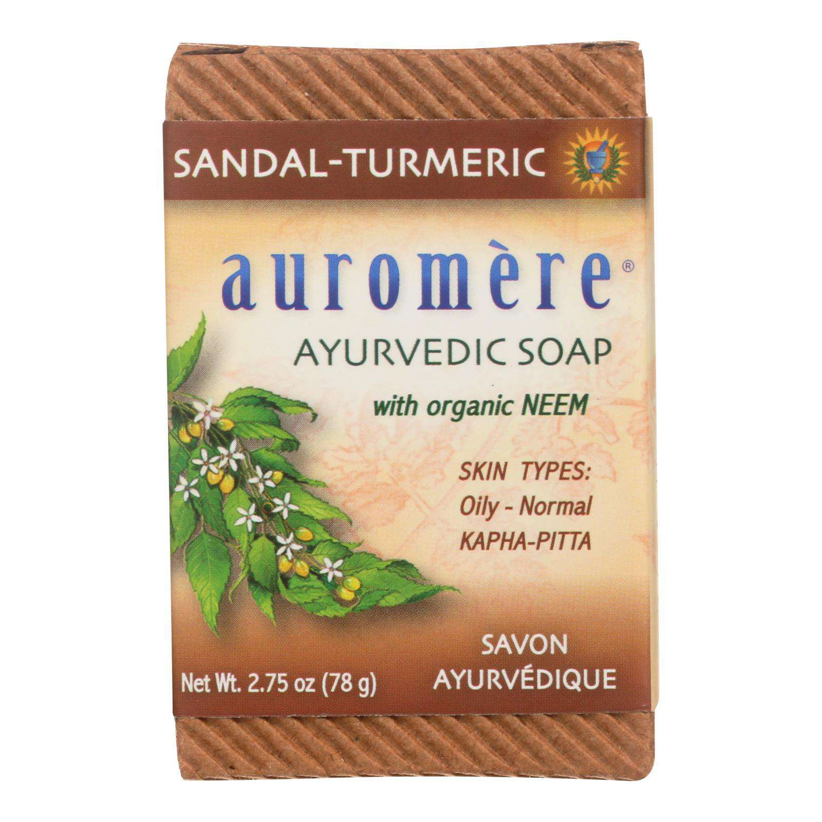 Auromere Ayurvedic Bar Soap Sandalwood-turmeric - 2.75 Oz - BeeGreen