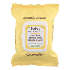 Babo Botanicals - Hand And Body Cleansing Wipes - Oatmilk And Calendula - Case Of 4 - 30 Count - BeeGreen