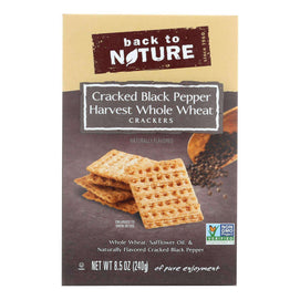 Back To Nature Crackers - Whole Wheat Black Pepper - Case Of 12 - 8.5 Oz - BeeGreen