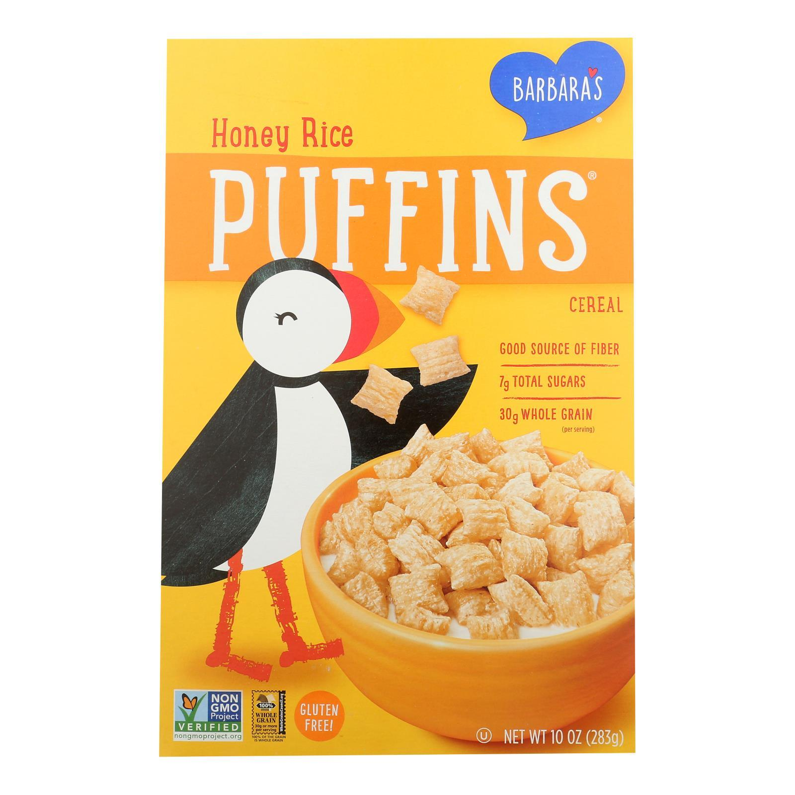 Barbara's Bakery - Puffins Cereal - Honey Rice - Case Of 12 - 10 Oz. - BeeGreen
