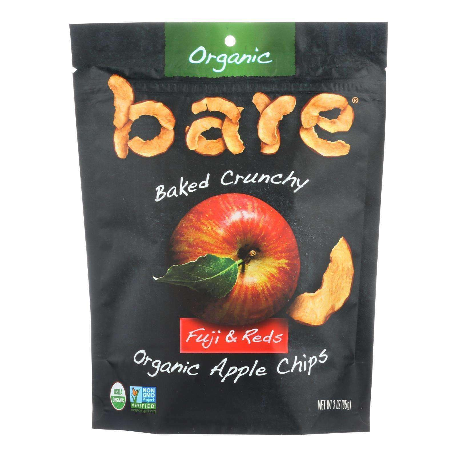 Bare Fruit Apple Chips - Organic - Crunchy - Fuji Red - 3 Oz - Case Of 12 - BeeGreen