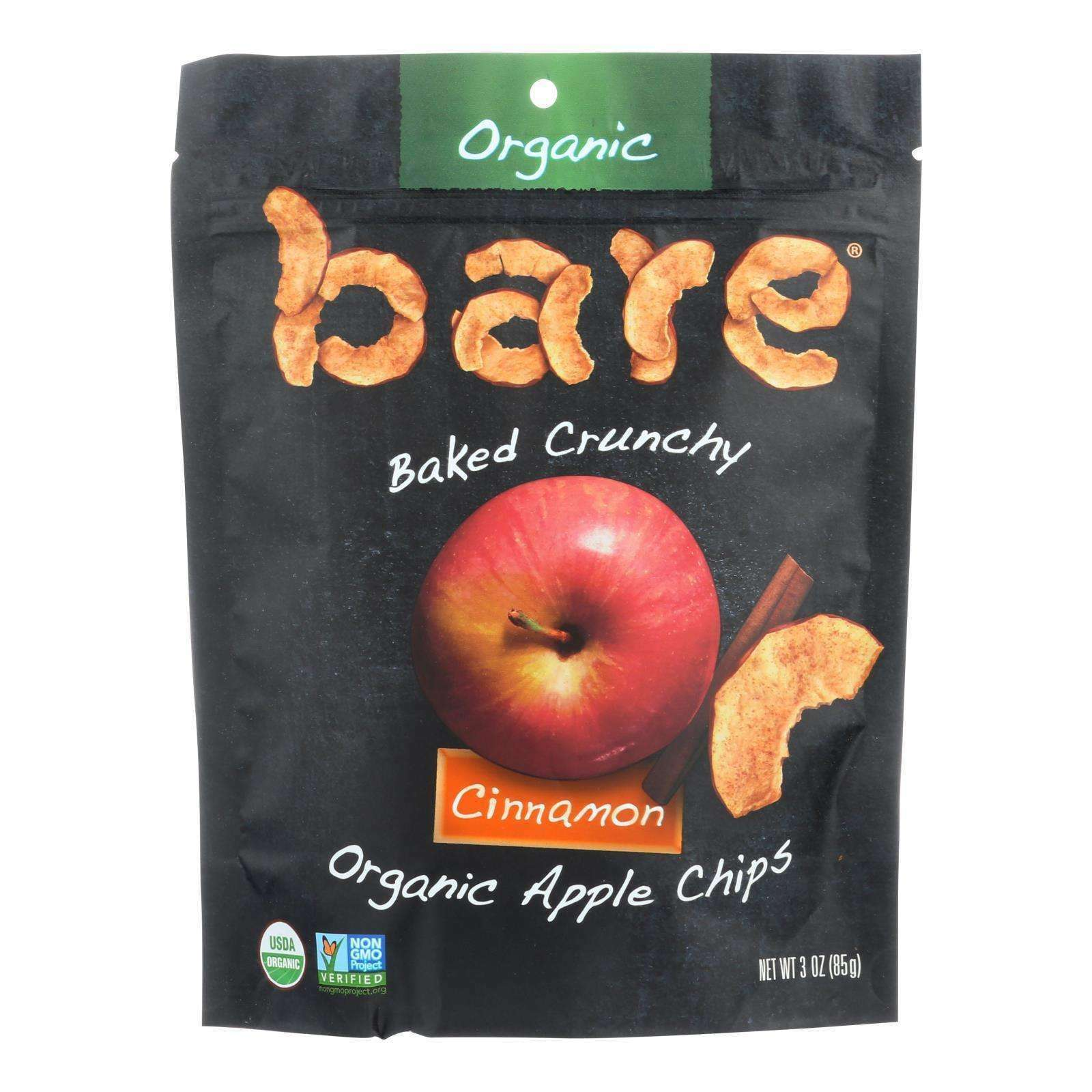 Bare Fruit Apple Chips - Organic - Crunchy - Simply Cinnamon - 3 Oz - Case Of 12 - BeeGreen