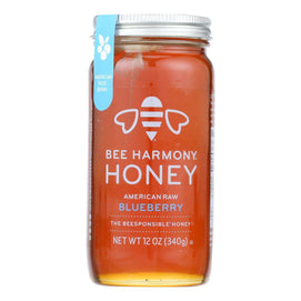 Bee Harmony - Honey - American Raw Blueberry - Case Of 6-12 Oz. - BeeGreen