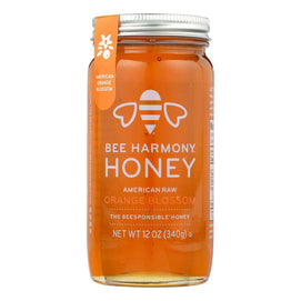 Bee Harmony - Honey - American Raw Orange Blossom - Case Of 6-12 Oz. - BeeGreen