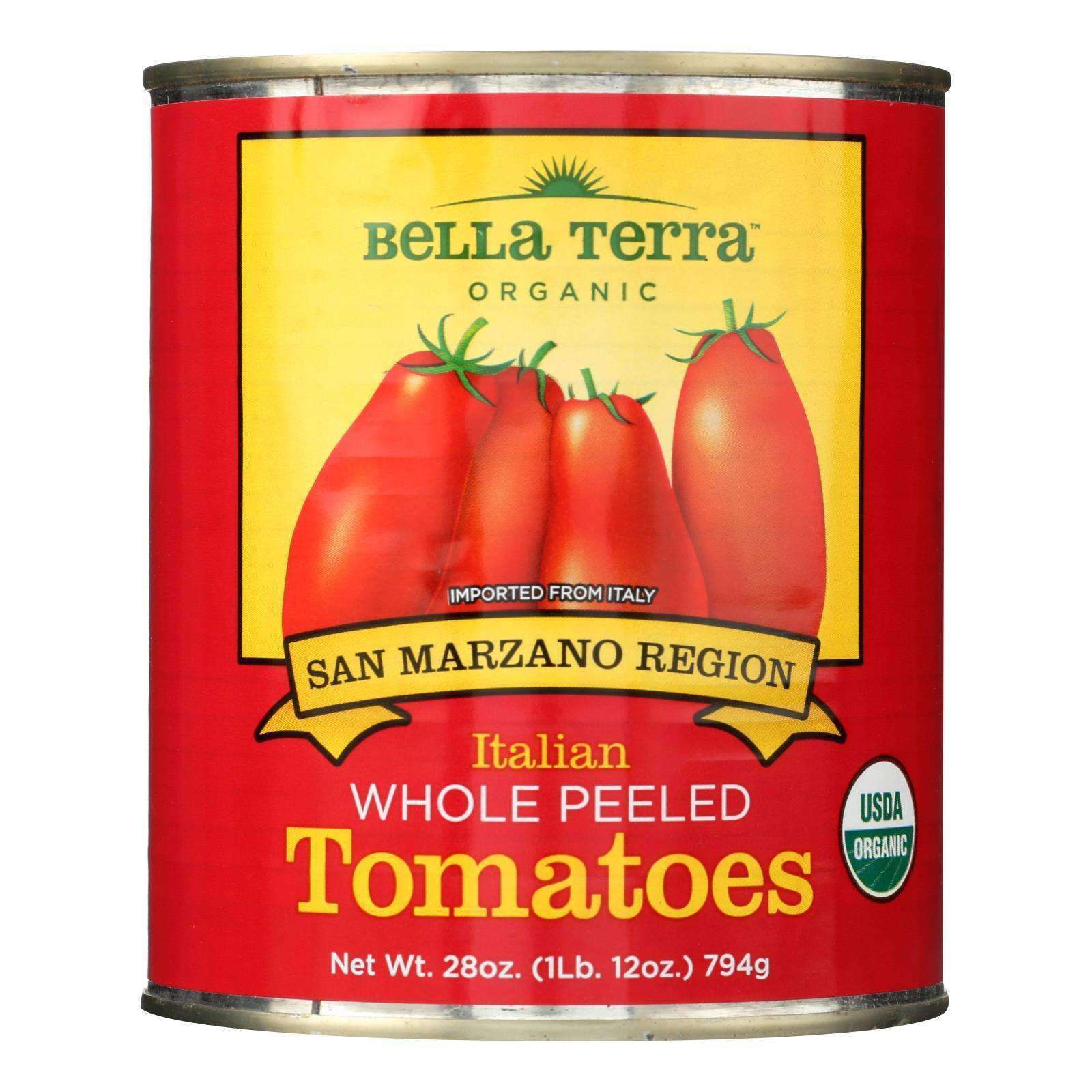Bella Terra Organic Italian Whole Peeled Tomatoes - San Marzano - Case Of 12 - 28 Oz. - BeeGreen