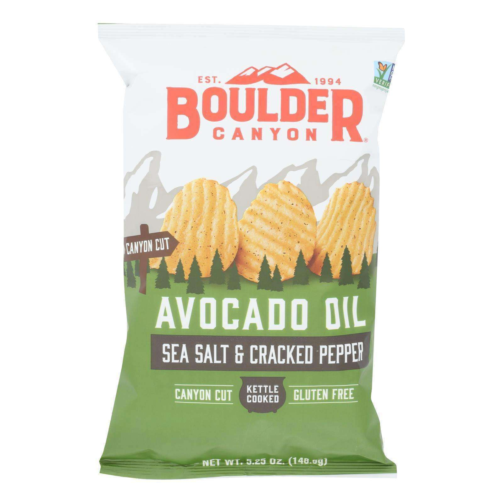 Boulder Canyon - Avocado Oil Canyon Cut Potato Chips - Sea Salt And Cracked Pepper - Case Of 12 - 5.25 Oz. - BeeGreen