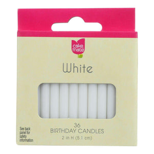 Cake Mate - Birthday Party Candles - Round - White - 2 In X 3-16 In - 36 Count - Case Of 12 - BeeGreen