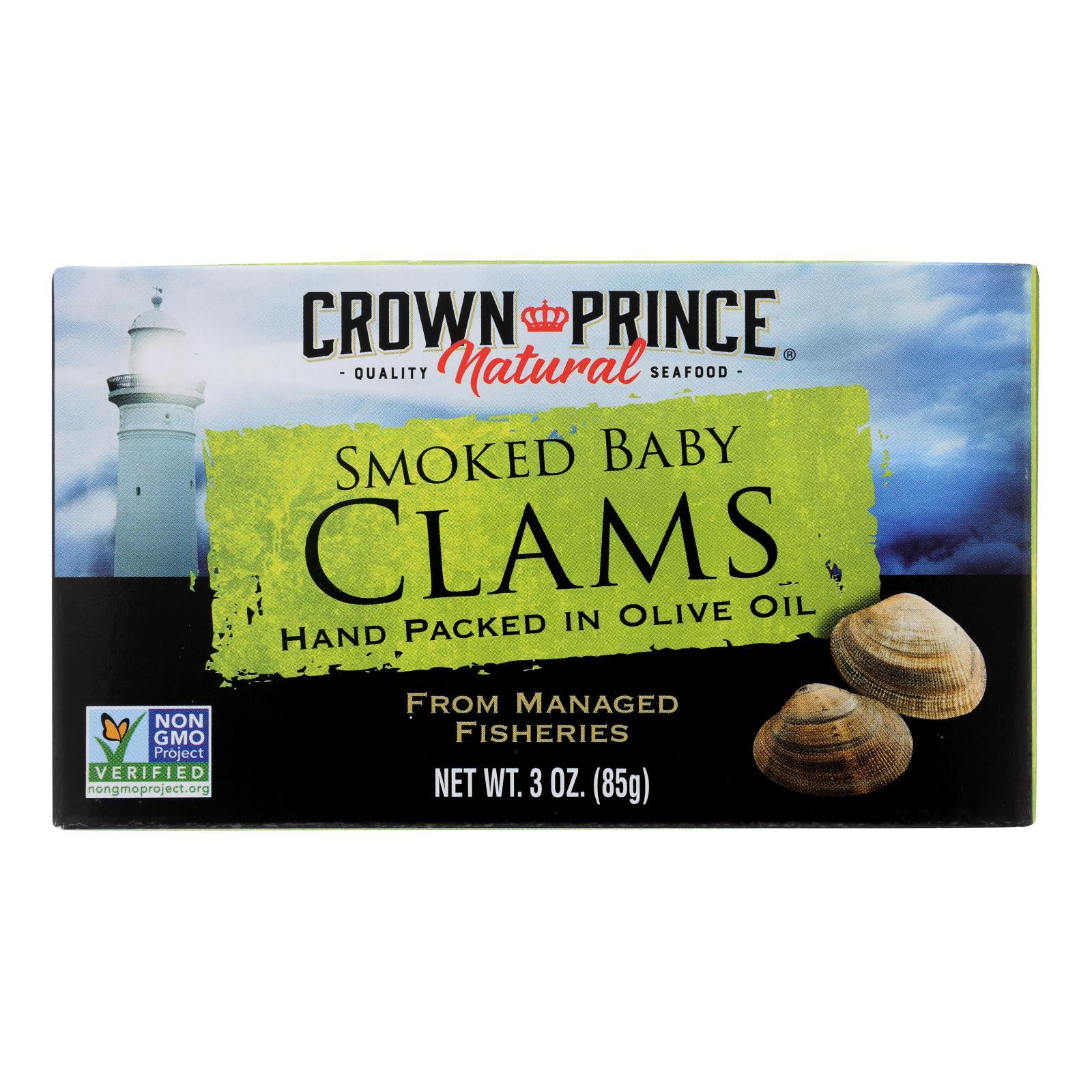 Crown Prince Clams - Smoked Baby Clams In Olive Oil - Case Of 12 - 3 Oz. - BeeGreen