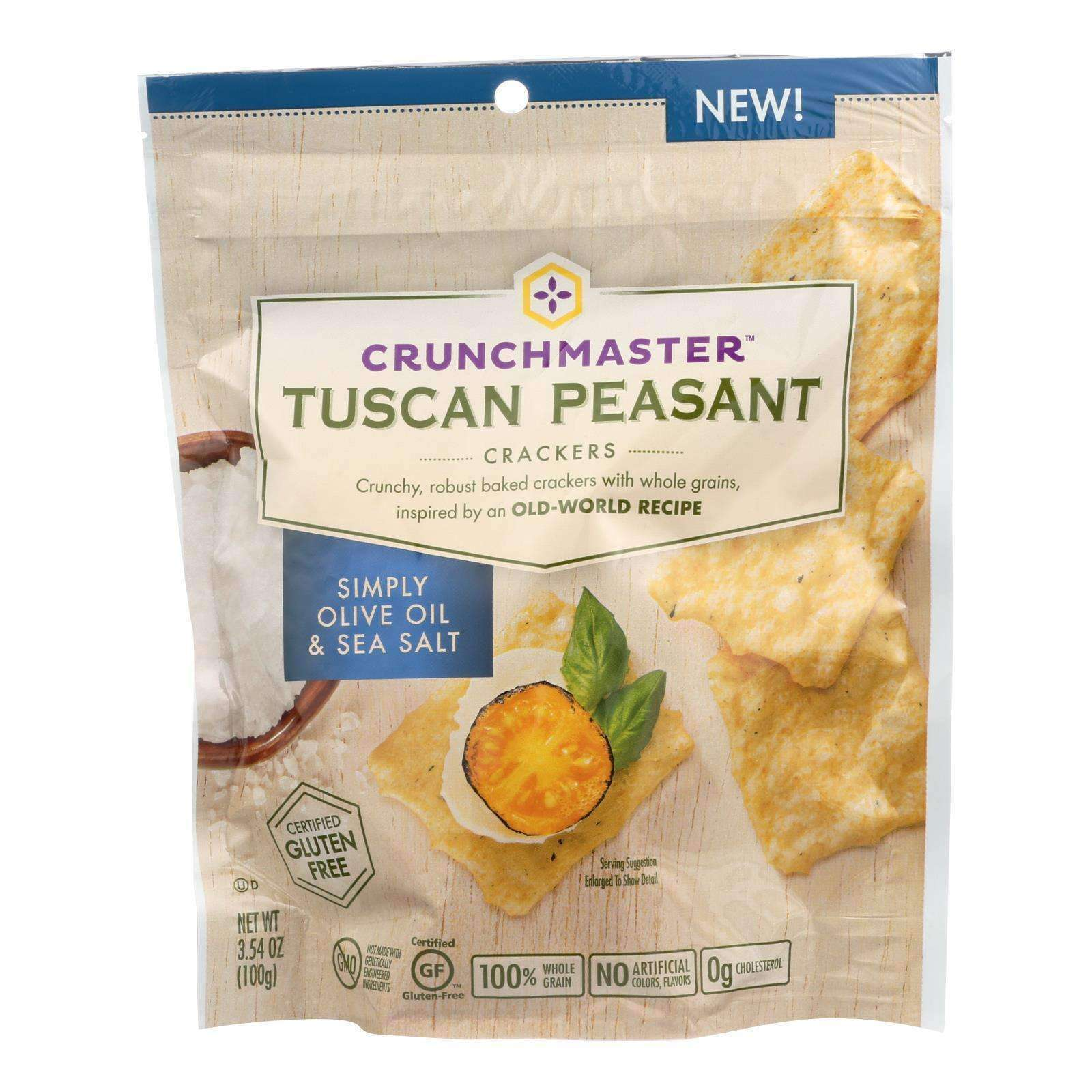 Crunchmaster Crackers - Tuscan Peasant Simply Olive Oil And Sea Salt - Case Of 12 - 3.54 Oz. - BeeGreen