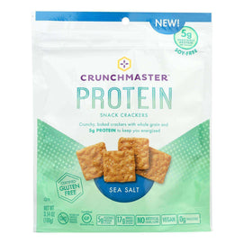 Crunchmaster Protein Crackers - Sea Salt - Case Of 12 - 3.54 Oz - BeeGreen