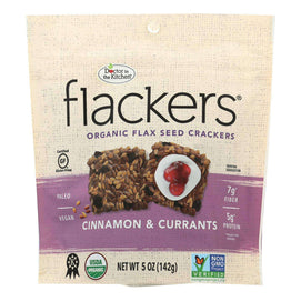 Doctor In The Kitchen - Organic Flax Seed Crackers - Cinnamon And Currants - Case Of 6 - 5 Oz. - BeeGreen