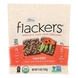 Doctor In The Kitchen - Organic Flax Seed Crackers - Savory - Case Of 6 - 5 Oz. - BeeGreen
