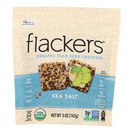 Doctor In The Kitchen - Organic Flax Seed Crackers - Sea Salt - Case Of 6 - 5 Oz. - BeeGreen