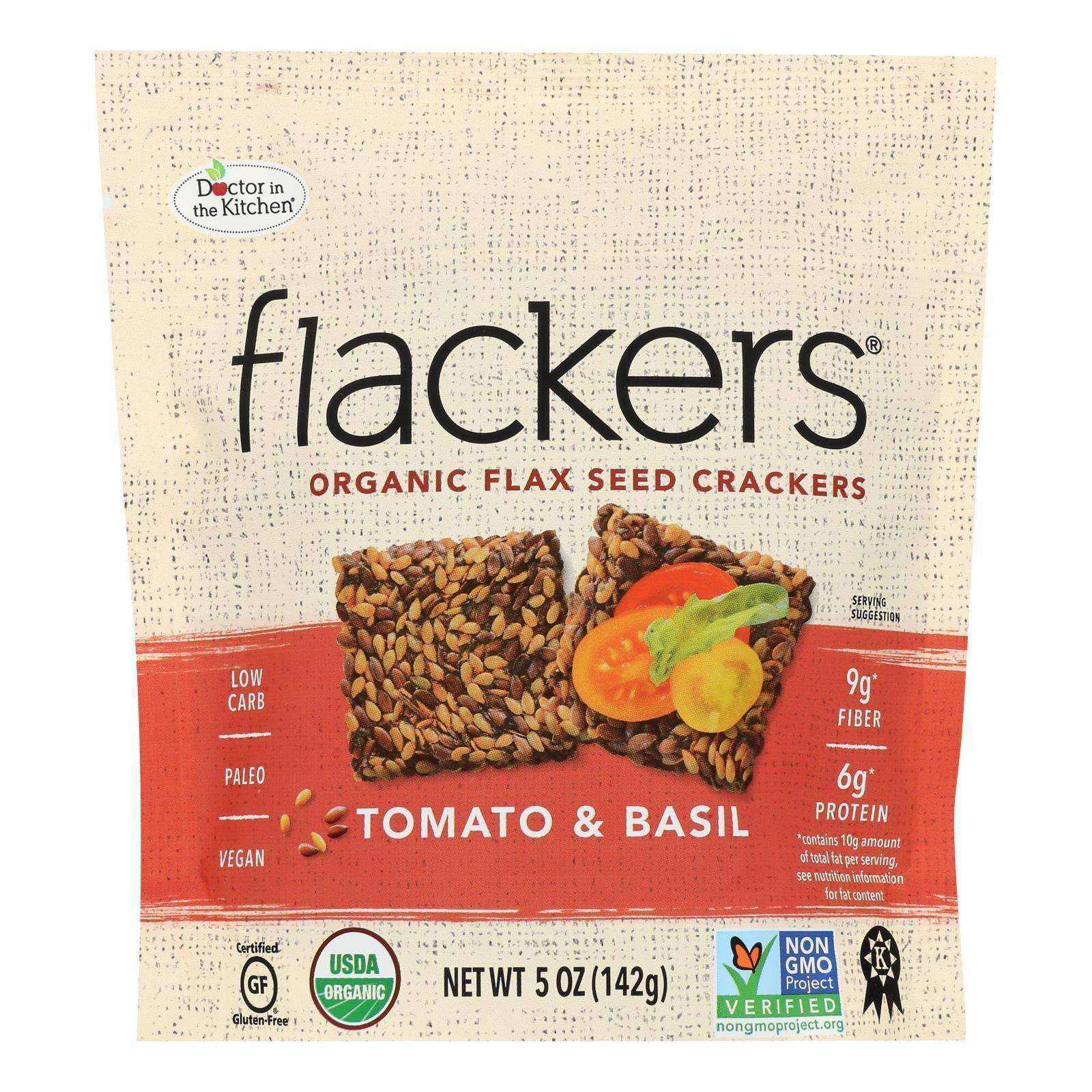 Doctor In The Kitchen - Organic Flax Seed Crackers - Tomato And Basil - Case Of 6 - 5 Oz. - BeeGreen