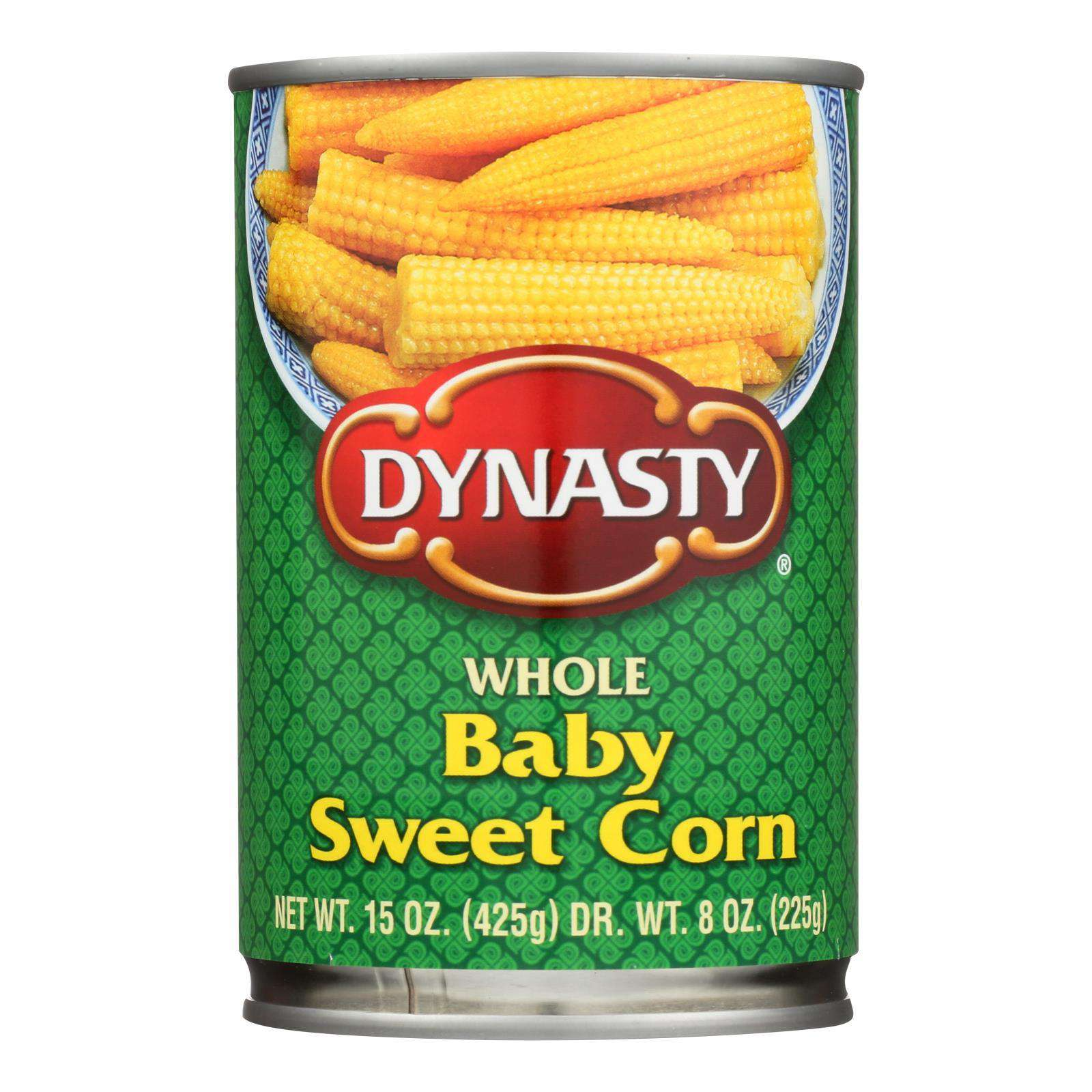 Dynasty Whole Baby Sweet Corn - Case Of 12 - 15 Oz. - BeeGreen