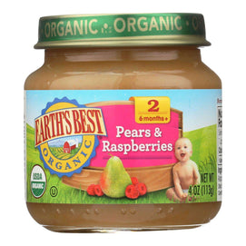 Earth's Best - Stage 2 Pears & Raspbry - Case Of 10-4 Oz - BeeGreen