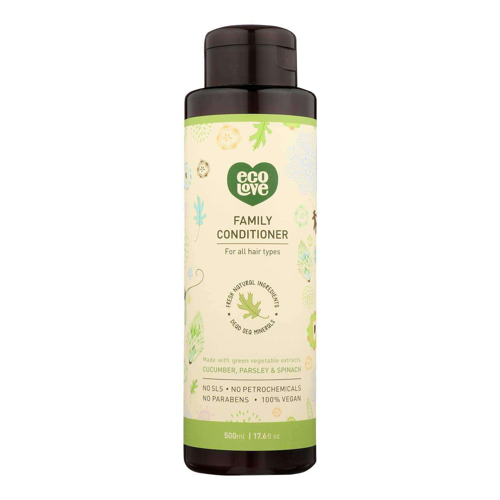 Ecolove Conditioner - Green Vegetables Family Conditioner For All Hair Types - Case Of 1 - 17.6 Fl Oz. - BeeGreen
