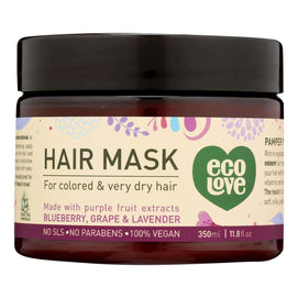 Ecolove Hair Mask - Purple Fruit Hair Mask For Colored And Very Dry Hair - Case Of 1 - 11.8 Oz. - BeeGreen