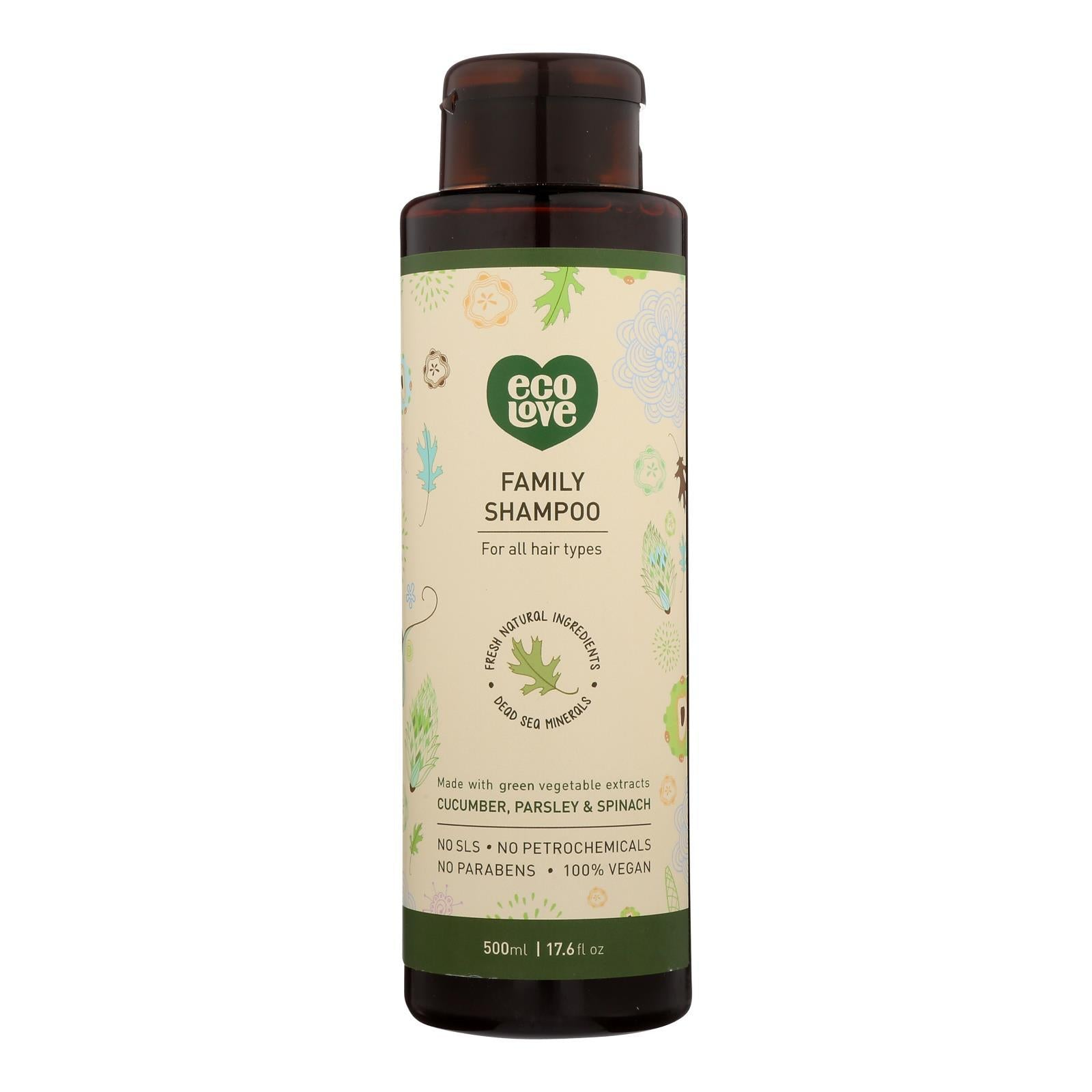 Ecolove Shampoo - Green Vegetables Family Shampoo For All Hair Types - Case Of 1 - 17.6 Fl Oz. - BeeGreen