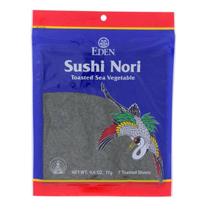 Eden Foods Sushi Nori - Cultivated - Toasted - .6 Oz - Case Of 6 - BeeGreen