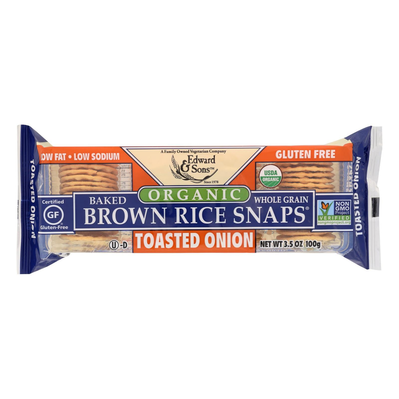 Edward And Sons Brown Rice Snaps - Toasted Onion - Case Of 12 - 3.5 Oz. - BeeGreen