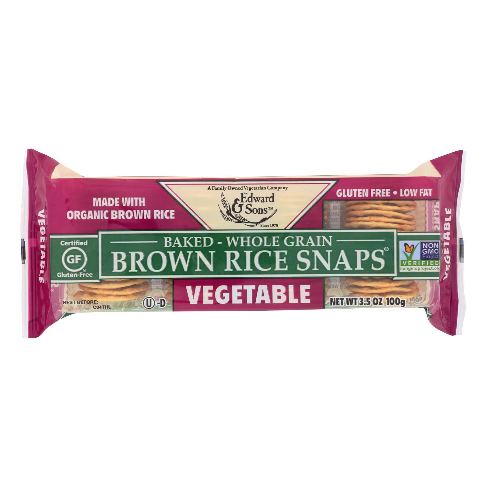 Edward And Sons Organic Vegetable Brown Rice Snaps - Case Of 12 - 3.5 Oz. - BeeGreen