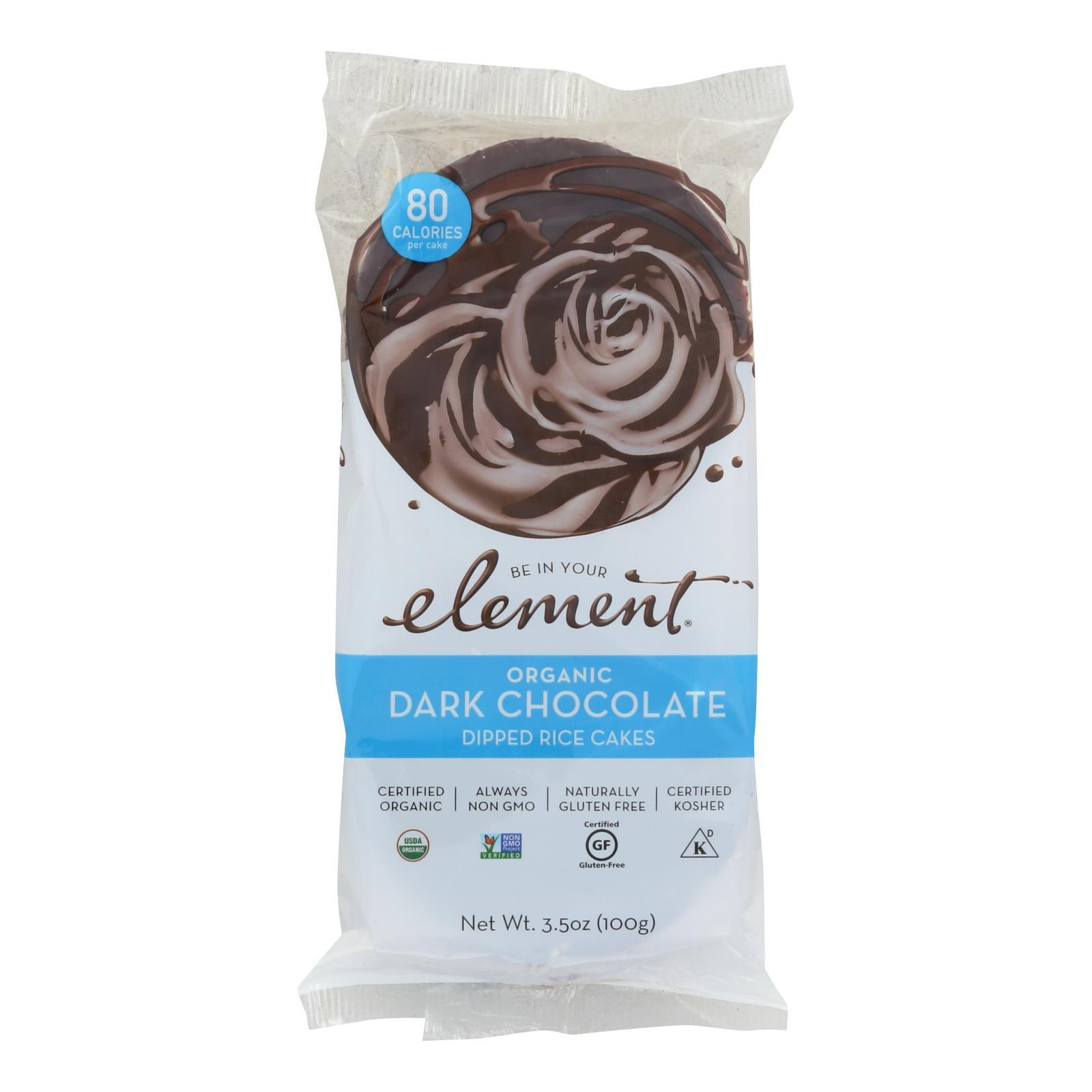 Element Organic Dipped Rice Cakes - Dark Chocolate - Case Of 6 - 3.5 Oz - BeeGreen