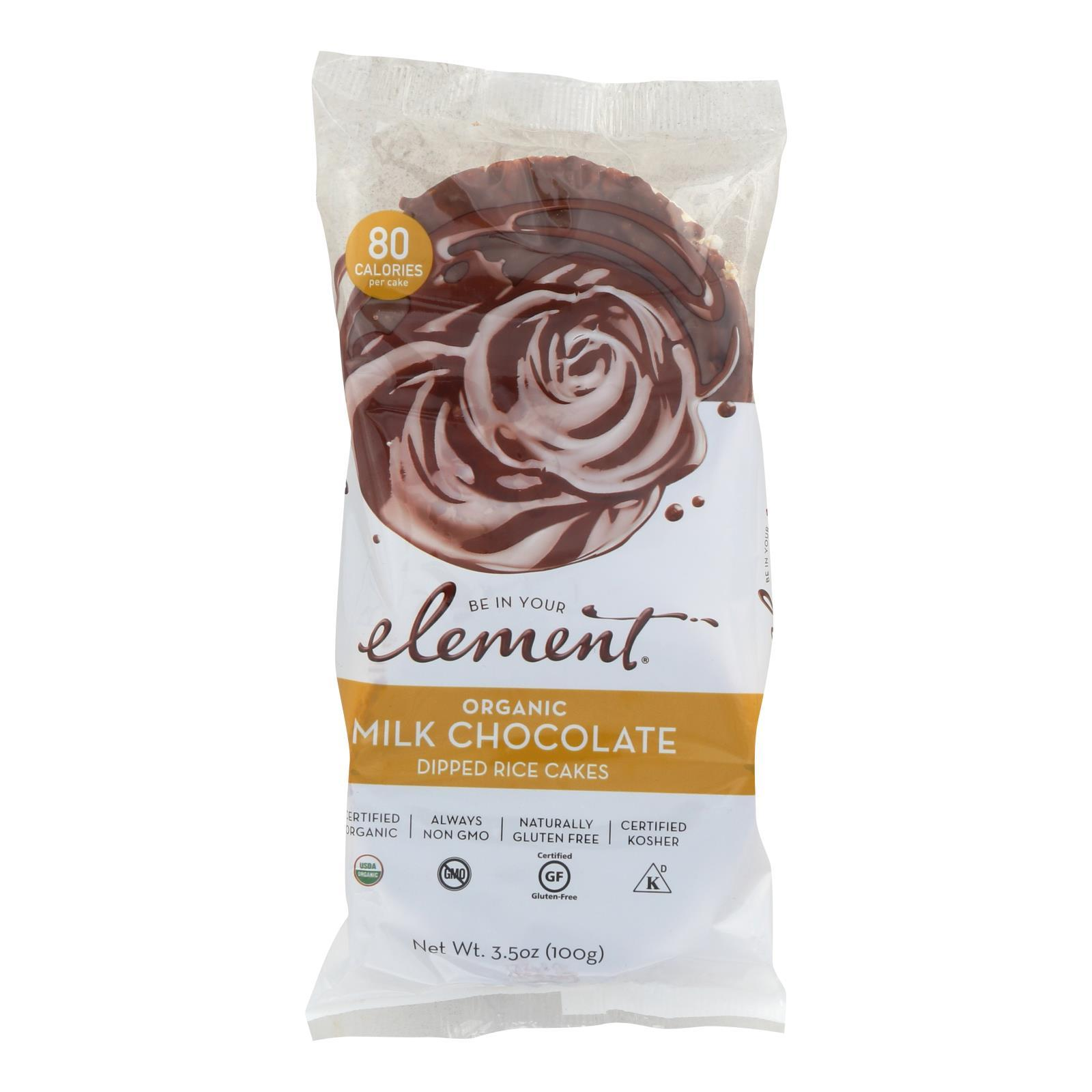 Element Organic Dipped Rice Cakes - Milk Chocolate - Case Of 6 - 3.5 Oz - BeeGreen