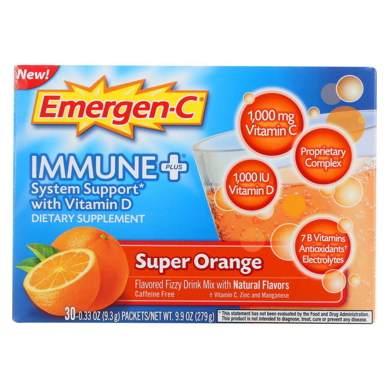 Emergen-c Immune Plus Super Orange Dietary Supplement - 1 Each - 30 Pkt - BeeGreen