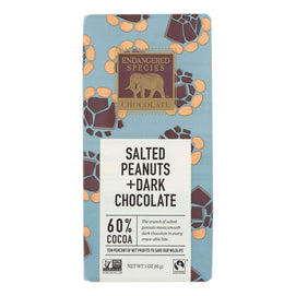 Endangered Species Chocolate Bar - Salted Peanuts And Dark Chocolate - Case Of 12 - 3 Oz. - BeeGreen