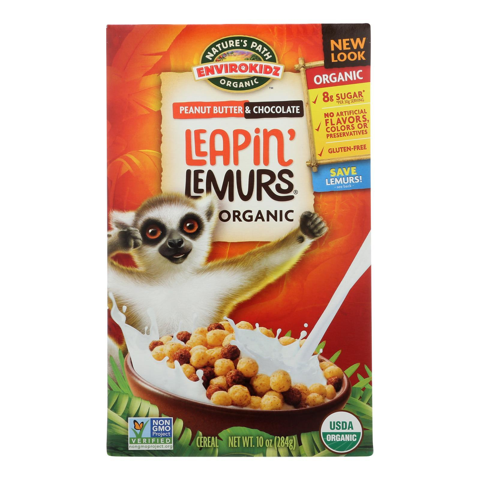 Envirokidz - Leapin' Lemurs Cereal - Peanut Butter And Chocolate - Case Of 12 - 10 Oz. - BeeGreen