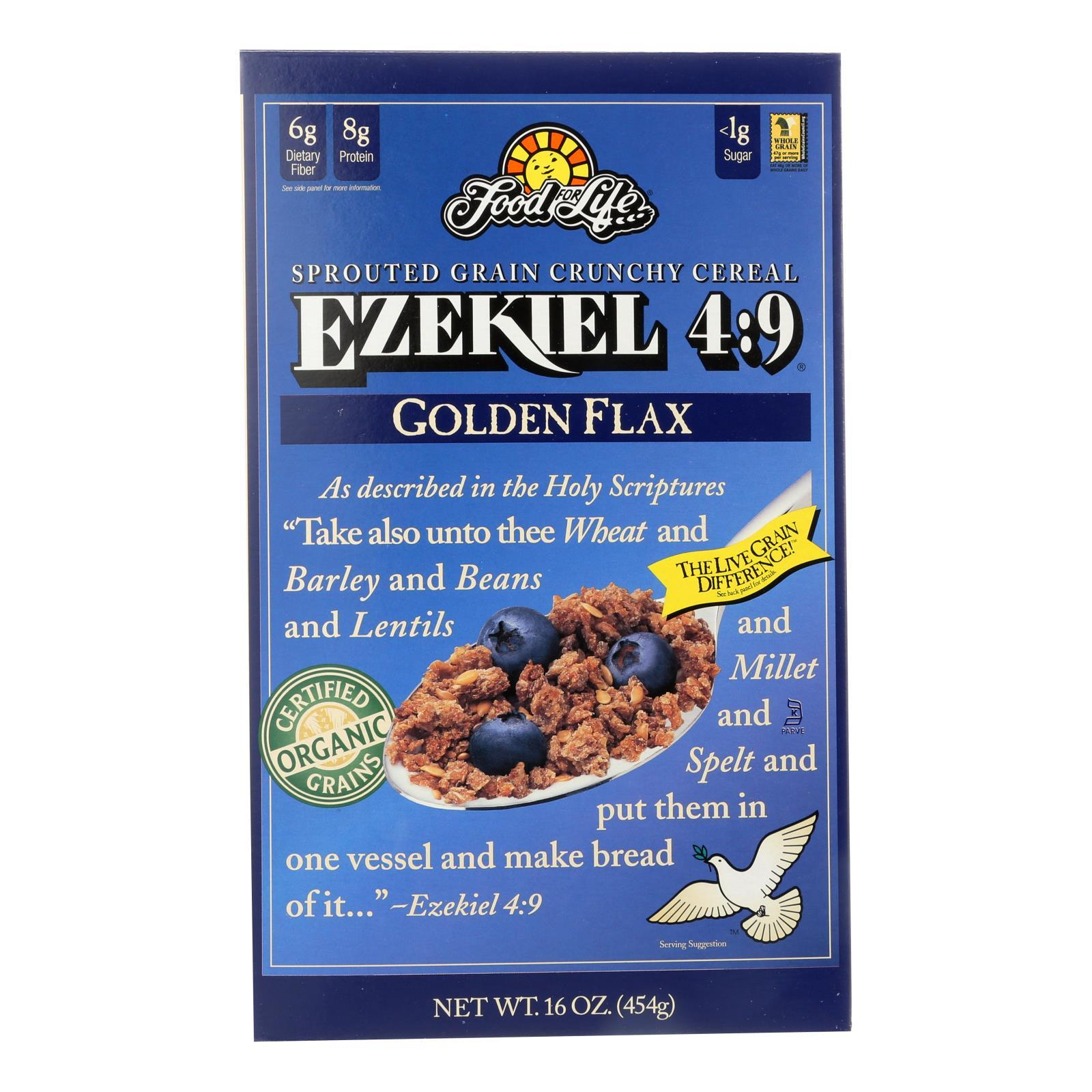 Food For Life Baking Co. Cereal - Organic - Ezekiel 4-9 - Sprouted Whole Grain - Golden Flax - 16 Oz - Case Of 6 - BeeGreen