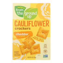 From The Ground Up - Cauliflower Crackers - Cheddar - Case Of 6 - 4 Oz. - BeeGreen