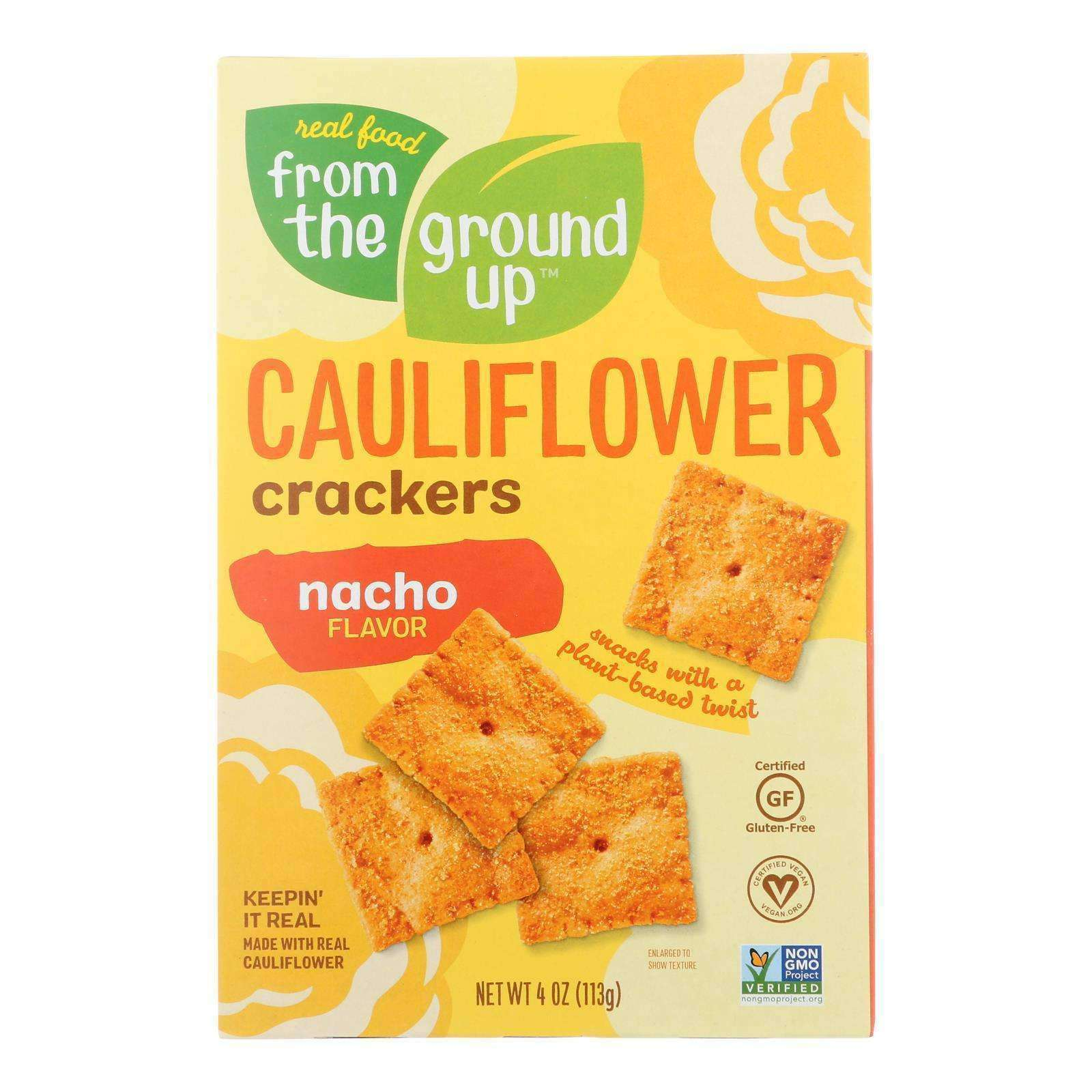From The Ground Up - Cauliflower Crackers - Nacho - Case Of 6 - 4 Oz. - BeeGreen