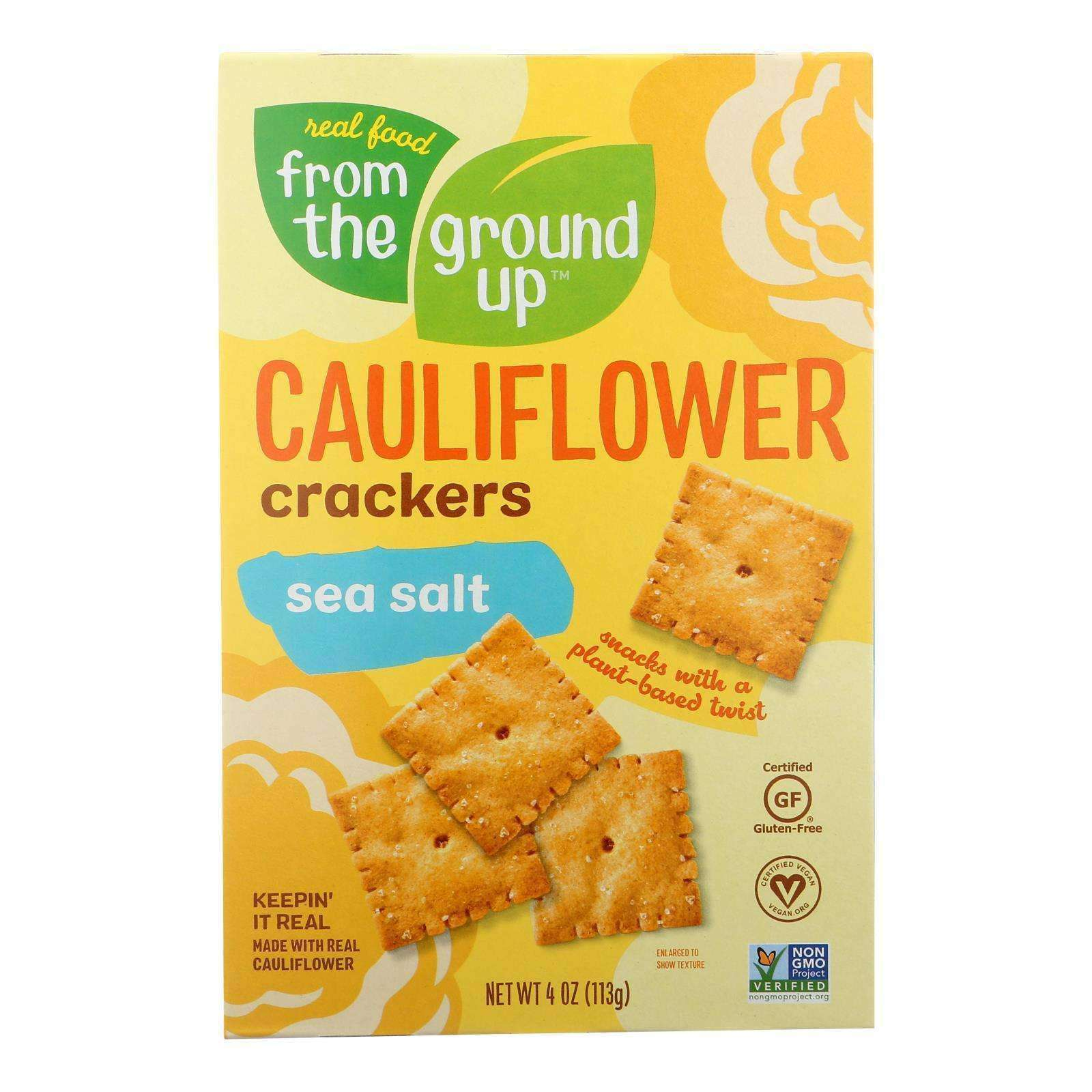 From The Ground Up - Cauliflower Crackers - Original - Case Of 6 - 4 Oz. - BeeGreen